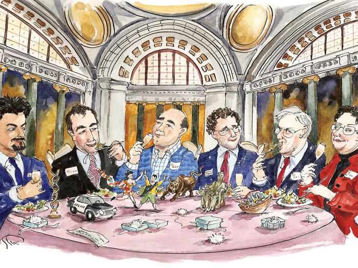 Cartoon illustration of Pulitzer recipients eating lunch in Low Library