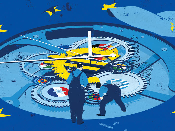 Illustration of factory workers fixing clock with European flags