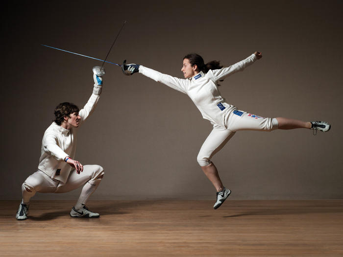 Fencers Jeff Spear and Dara Schneider