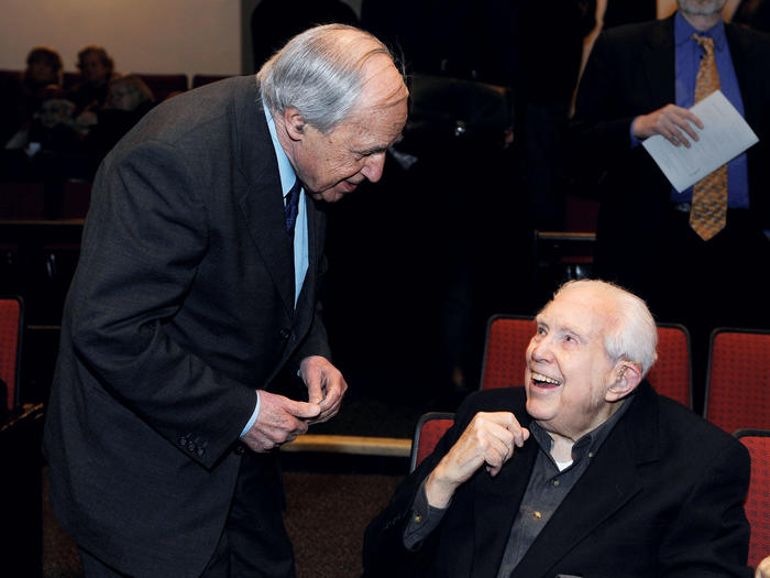 Elliott Carter and Pierre Boulez at Miller Theatre