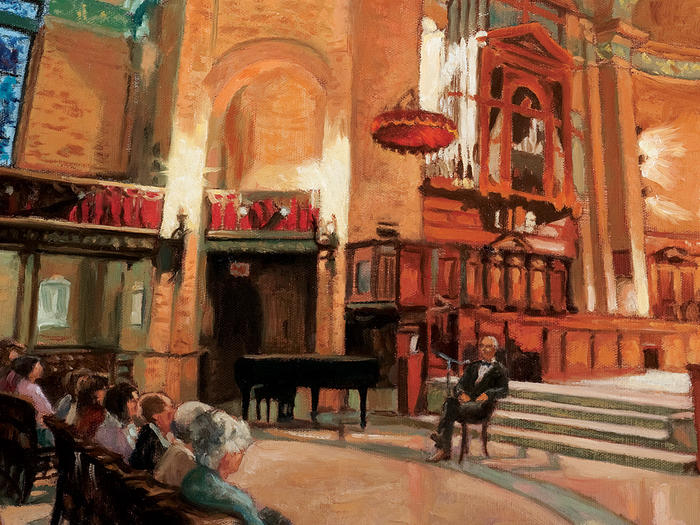 Illustration of Ted de Bary speaking in Columbia's St. Paul's Chapel