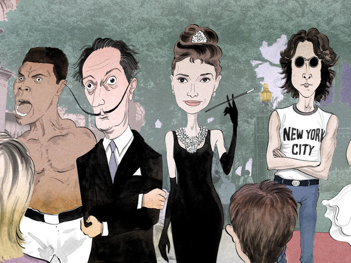 Illustration of Muhammad Ali, Salvador Dali, Audrey Hepburn, and John Lennon