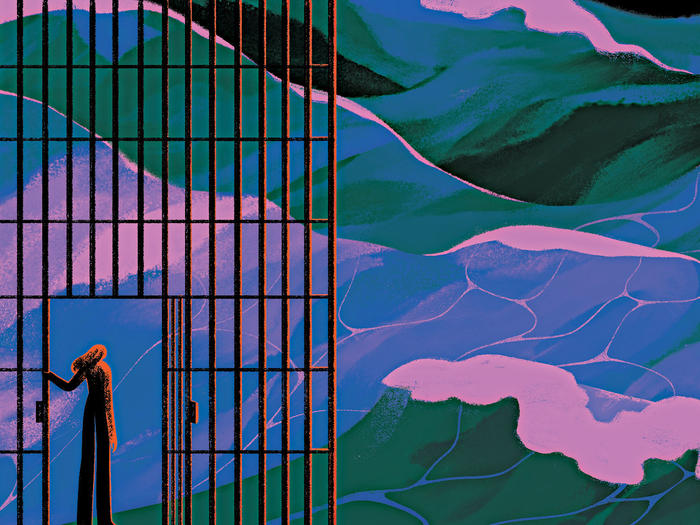 Illustration by Sara Wong of a former prisoner opening barred gate to a colorful waves