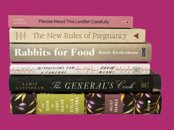 Book spines: Please Read this Leaflet Carefully, The New Rules of Pregnancy, Rabbits for Food, Instructions for a Funeral, The General's Cook, The Seven or Eight Deaths of Stella Fortuna