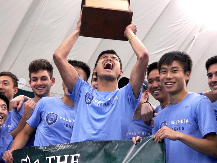 Columbia University men's tennis team winning 2019 Ivy League title