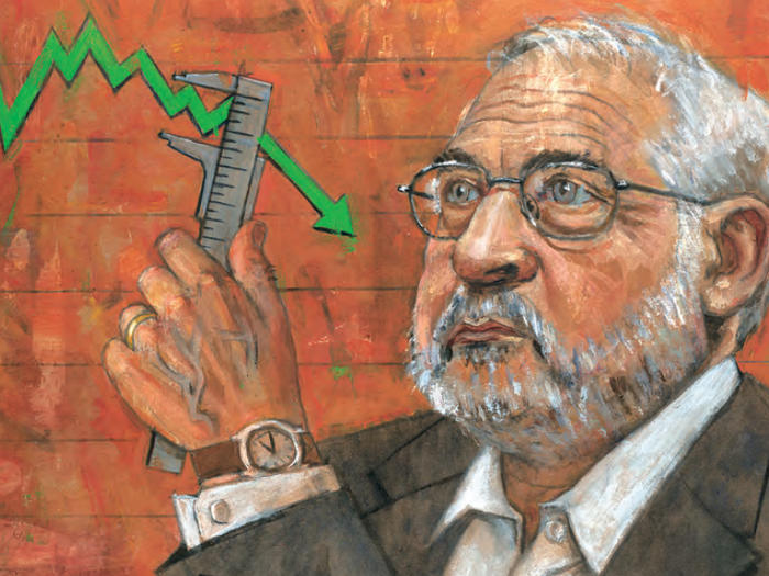 Illustration by Jeff Faerber of Joseph Stiglitz holding wrench