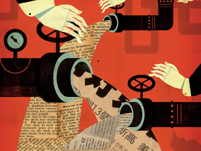 Collage illustration by Keith Negley of newspapers flowing out of pipes