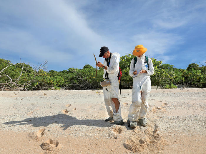 Columbia scientists Emlyn Hughes and Gemma Sahwell collecting soil samples on the Marshall Islands to test for radiation