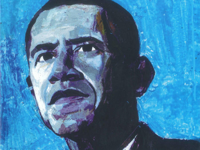 Illustrated portrait of Barack Obama by Andrea Ventura (2008)