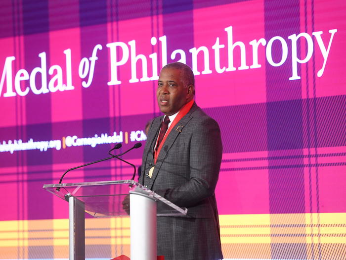 Robert F. Smith receiving Carnegie Medal of Philanthropy
