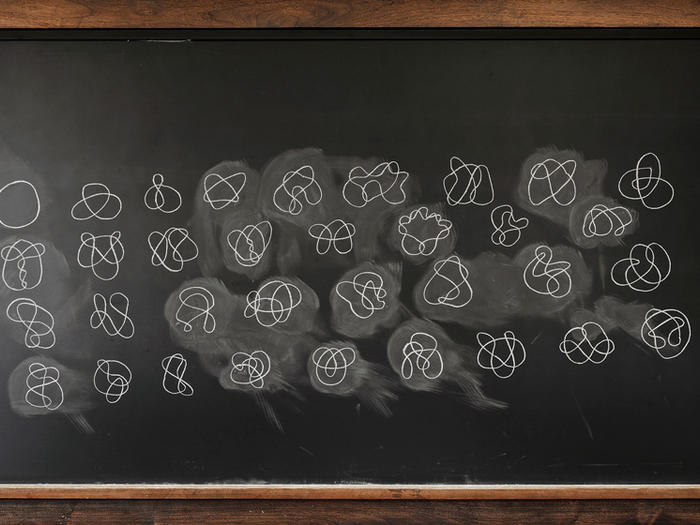 Chalkboard writing of Columbia physics student Sahar Khan