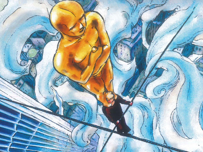 Illustration by Philippe Lechien of Philippe Petit walking tightrope between Twin Towers with an Oscar statue on his head