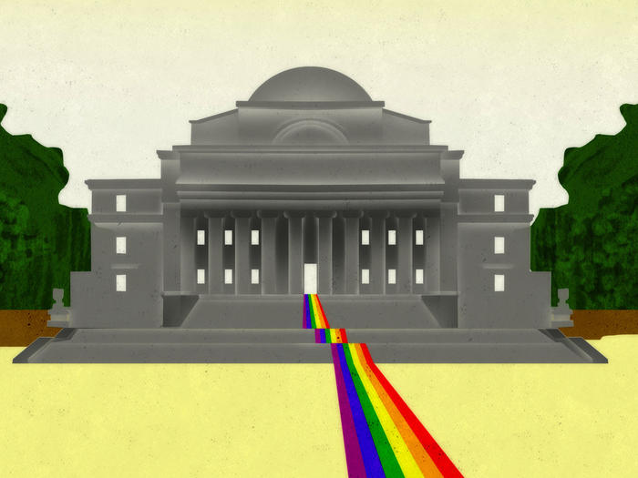 Illustration by Brian Stauffer of Columbia's Low Library with a rainbow flag coming out the doorway