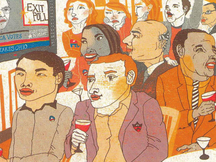 Illustration by Kim Rosen of alumni from Columbia and Princeton watching the 2008 election results