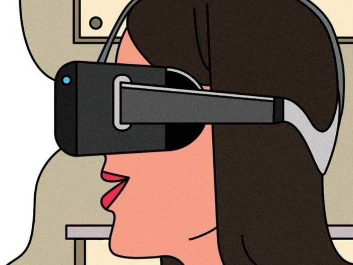 Illustration of person wearing virtual-reality glasses by Seb Agresti for the New Yorker