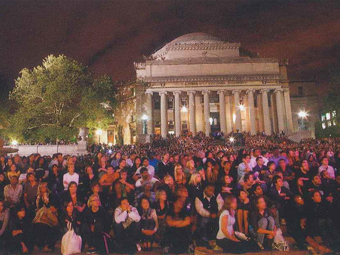 Audience watching Obama and McCain at Columbia University in 2008