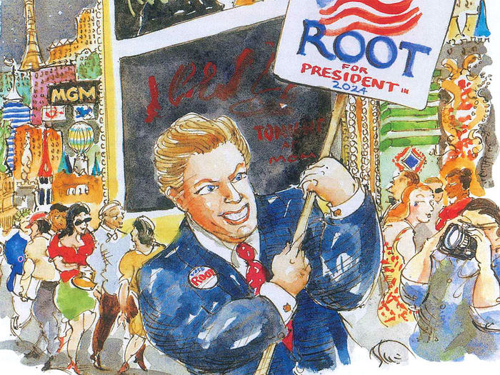 Illustration by Mark Steele of Wayne Allyn Root running for president in 2024