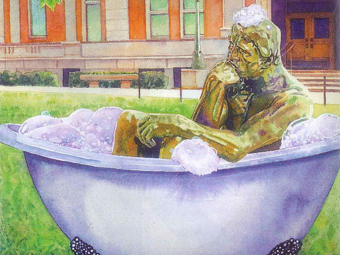 "Illustration by Irena Roman of Columbia University's ""The Thinker"" statue in a bathtub outside Philosophy"
