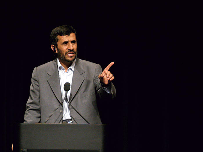 Mahmoud Ahmadinejad at Columbia University in 2007