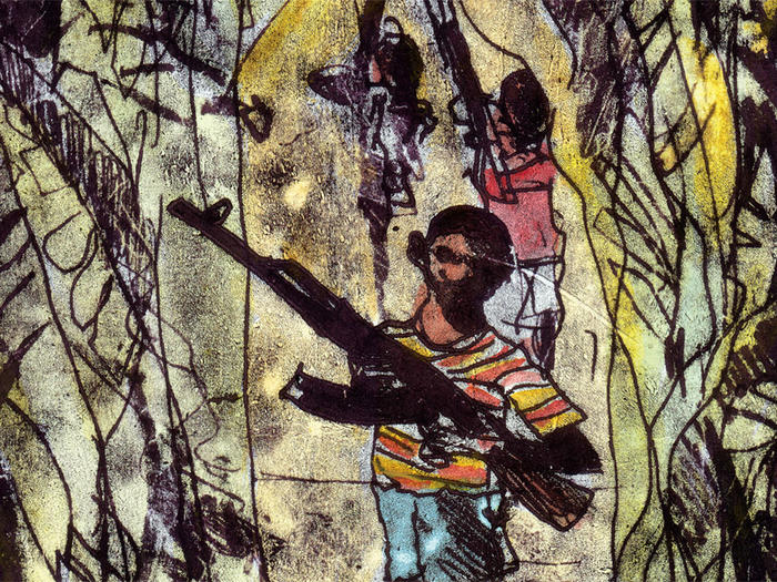 Illustration of African child soldiers by Robert Andrew Parker