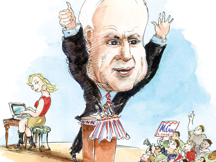 Illustration by Mark Steele of John McCain campaigning for president in 2008 with Meghan McCain blogging behind him