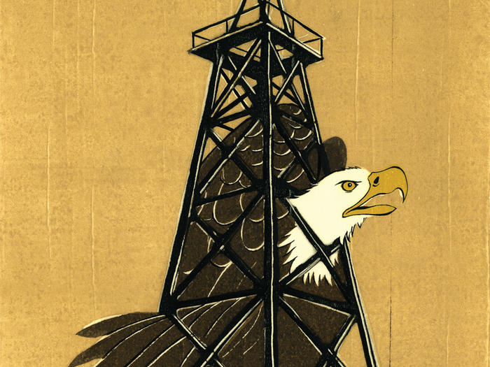 Illustration by Daniel Bejar of American bald eagle stuck in an oil rig