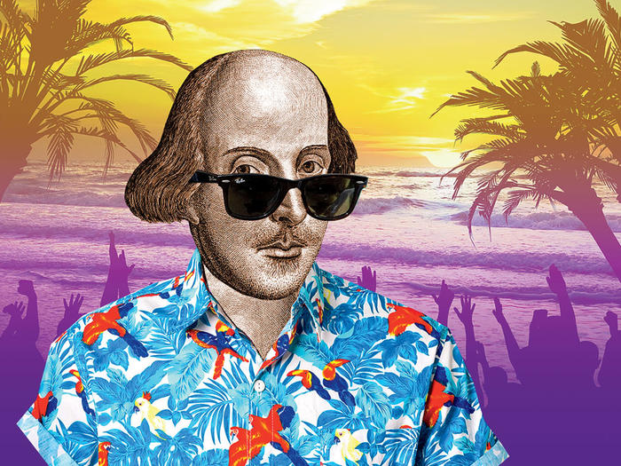 Illustration of William Shakespeare in a Hawaiian shirt against a tropical backdrop