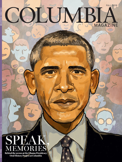 Fall 2019 cover of Columbia Magazine, featuring an illustration of Barack Obama by Richie Pope