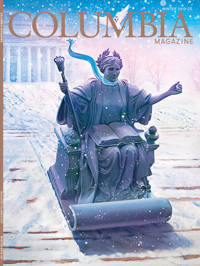 Winter 2019-20 cover of Columbia Magazine, with illustration by Tim O'Brien of Alma Mater statue sledding down Low Library steps