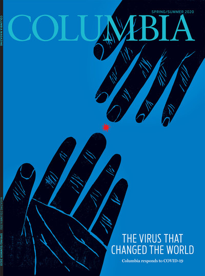 "Spring/Summer 2020 cover of Columbia Magazine, ""The Virus that Changed the World,"" with artwork by Melinda Beck"