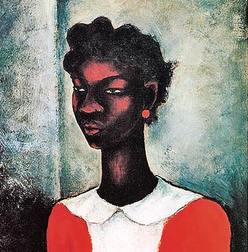 """Girl in a Red Dress"" painting by Charles Alston"