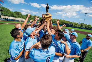 The Columbia Lions baseball team with a trophy