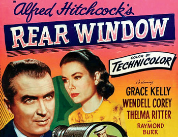 "Vintage poster for ""Rear Window"" directed by Alfred Hitchcock"