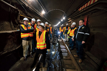 Columbia Engineering dean Mary Boyce and Governor Andrew Cuomo lead an inspection of New York City's 14th Street tunnel.