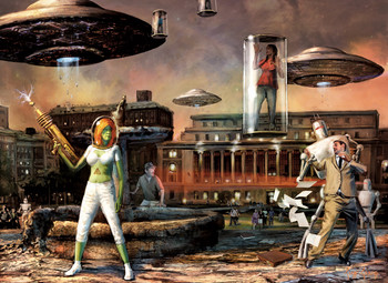 Sci-fi/ Columbia University illustration by Cliff Cramp
