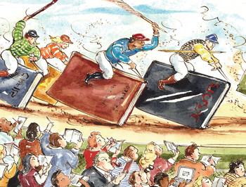 Illustration of horse jockeys riding books