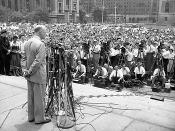 Dwight Eisenhower speaking at Columbia University in 1948
