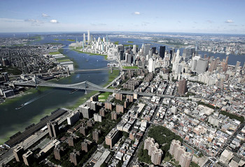 Rendering of NYC land bridge between Lower Manhattan and Governor's Island