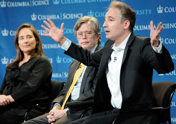 Columbia physicists Amber Miller, Michael Tuts, and Brian Greene at a World Leaders Forum event