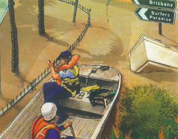 Illustration of canoe in flooded water in Brisbane