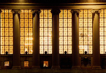 Butler Library exterior at night