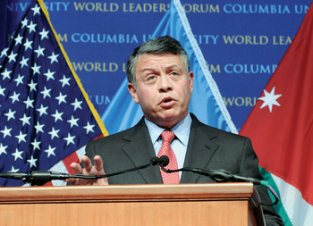 King Abdullah II of Jordan speaking at Columbia as part of the World Leaders Forum