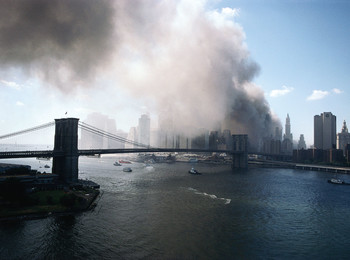 Photo of lower Manhattan during 9/11 attack