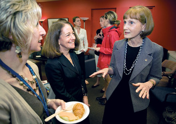 Bobbie Berkowitz, at right, greeted PhD candidate Annie Rohan, at left, and associate dean of nursing Judy Honig on a recent visit to Columbia