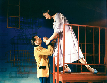 Larry Kert and Carol Lawrence in the fire escape scene from the original 1957 Broadway production of West Side Story