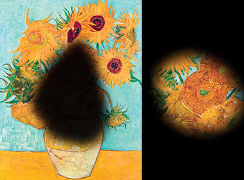 Van Gogh's Sunflowers as seen through the eyes of a person with age-related macular degeneration, at left, and the same painting seen through the eyes of a person with retinitis pigmentosa