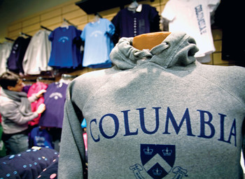 Columbia sweatshirt at campus bookstore