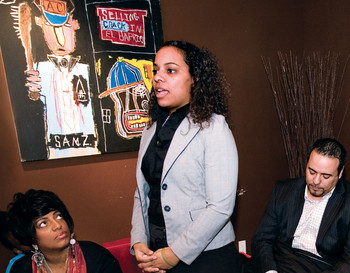 Rebecca Rodriguez address local entrepreneurs at Harlem's La Pregunta Arts Café.