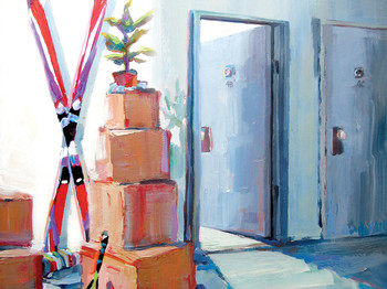 Painting by Patti Mollica of athletic equipment and boxes outside of apartment door
