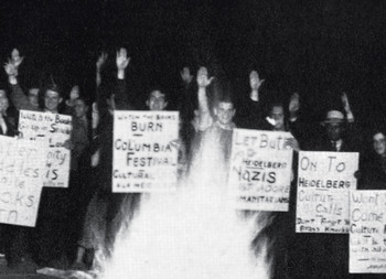 Columbia students stage a mock book burning in 1936 to protest Nicholas Murray Butler's decision to send a delegate to the University of Heidelberg's 550th anniversary celebration